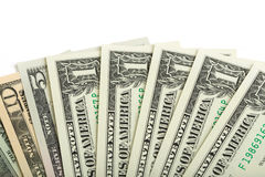 Usa dollars money background. Nominal value one, five, ten and twenty  on white Stock Images
