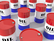 USA Domestic Oil Barrels. USA domestic oil in red white & blue drums Royalty Free Stock Image
