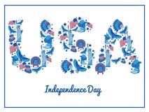 USA dzień niepodległości Ilustracyjna typografia Fotografia Stock