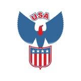USA eagle Shield. Birds of prey in olors of American flag. Falcon vector illustration