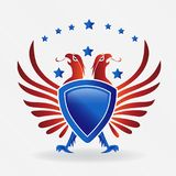 USA eagle shield symbol logo vector illustration. USA eagle shield concept icon logo vector illustration identity card logotype template image design graphic Stock Image