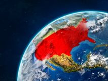 USA on Earth with borders. USA on realistic model of planet Earth with country borders and very detailed planet surface and clouds. 3D illustration. Elements of stock photos