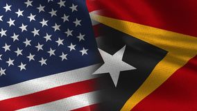 Usa and East Timor Realistic Half Flags Together stock illustration