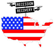 USA economy. The USA economy in recession or recovery Royalty Free Stock Images