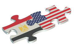 USA and Egypt puzzles from flags Royalty Free Stock Photography