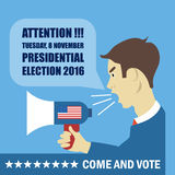 Usa 2016 election card with a character with megaphone giving details to come and vote Stock Photography
