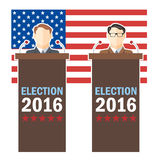 Usa 2016 election card with country flag and candidates character at the tribune. Digital vector image vector illustration