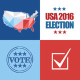 Usa 2016 election card with country map, vote stamp, and checkbox Stock Image