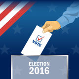 Usa 2016 election card with man hand with ballot. Digital vector image Stock Photos
