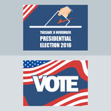 Usa 2016 election card with man hand with ballot. Digital vector image royalty free illustration