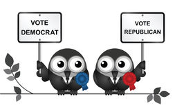 USA Election. Comical Democrat and Republican bird politicians perched on a branch  on white background Royalty Free Stock Photos