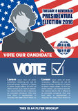Usa 2016 election a4 flyer mockup with country map, vote checkbox and female candidate Stock Image
