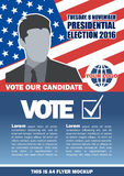 Usa 2016 election a4 flyer mockup with country map, vote checkbox and male candidate Stock Images