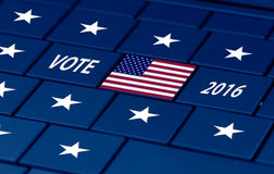 Usa election next autumn. American flag on a pc keyboard for usa 2016 election stock images