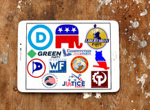 USA election political party logos and icons. Collection of logos, vector and emblem of top election  parliamentary political parties for the united states on Royalty Free Stock Photo