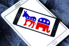 USA election political symbols. Donkey and elephant symbols of political parties in America. democratic donkey and republican elephant icons on samsung mobile royalty free stock images