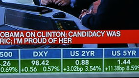 USA election result breaking news on Bloomberg tv channel news debates. PARIS, FRANCE - NOV 9, 2016: Watching on TV USA election results and debates on Bloomberg stock video footage