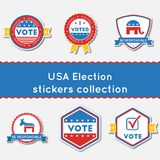 USA Election stickers set. Buttons collection for USA presidential elections 2016. Pack of blue and red patriotic badges. Round lables vector illustration Stock Photos