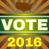 Usa Election 2016 Vote Banner. Election Day 2016 Campaign Ad Flyer. I Am Voting. Every Vote Counts. Social Promotion Banner. American Flag's Symbolic Elements Stock Photo