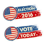 USA election 2016 and vote today with american flag banners. USA election 2016 and vote today with american flag, text drawn banners, political concept Royalty Free Stock Images
