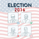 USA elections candidates. March 09, 2016 USA  elections conceptual illustration with stylized politics portraits Stock Photo