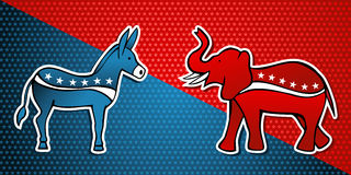 USA elections Democratic vs Republican party. In sketch style over stars background. Vector file layered for easy manipulation and custom coloring Stock Photography
