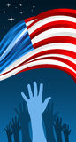 USA elections hands with waving flag Royalty Free Stock Image