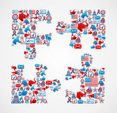 USA elections icons puzzle piece Stock Photos