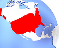 USA on elegant globe. Map of USA on elegant shiny globe. 3D illustration Royalty Free Stock Images