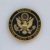 USA embassy sign in Bangkok, Thailand Stock Images