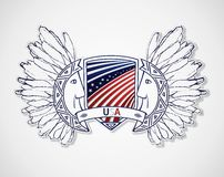 USA emblem in the traditional style of the peoples Stock Photos