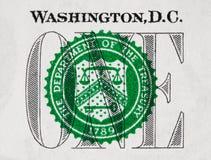 USA en closeup för dollarräkning, 1 usd, USA federal matad reservanmärkning Arkivfoto