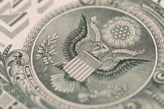 USA en dollar, detaljsikt Arkivfoton