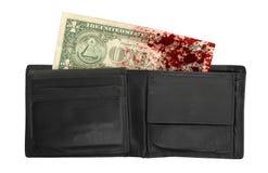 USA en dollarräkning i en plånbok, slut upp Arkivbild
