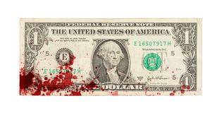 USA en dollarräkning, slut upp, blod Royaltyfri Foto