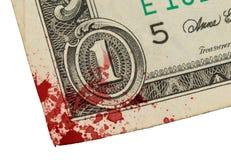 USA en dollarräkning, slut upp, blod Fotografering för Bildbyråer