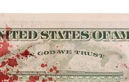 USA en dollarräkning, slut upp, blod Royaltyfri Bild