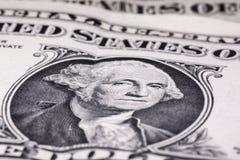 USA en makro för closeup för dollarräkning George Washington förenade pengartillstånd Arkivfoton