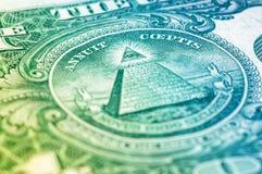 USA en makro för closeup för dollarräkning, 1 usd sedel Royaltyfri Foto