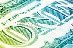 USA en makro för closeup för dollarräkning, 1 usd sedel Arkivfoton