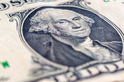 USA en makro för closeup för dollarräkning, 1 usd sedel, George Washing Arkivbild