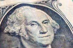 USA en makro för closeup för dollarräkning, 1 usd sedel Arkivbild