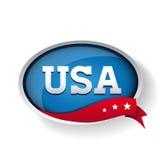 USA etikett eller knapp Arkivfoto