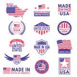 USA etiketter Flaggan gjorde Amerika amerikanska stater som flaggor m stock illustrationer