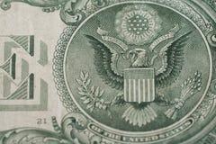 USA ett foto för makro för örn för dollarräkning royaltyfria foton