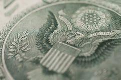 USA ett foto för makro för örn för dollarräkning royaltyfri foto