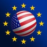 USA - EU. Cooperation. Raster graphics Royalty Free Stock Image