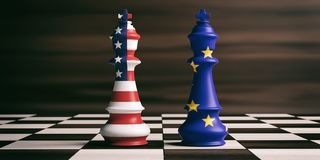 USA and EU flags on chess kings. 3d illustration. USA and EU cooperation concept. US of America and European Union flags on chess kings on a chess board, brown Stock Image