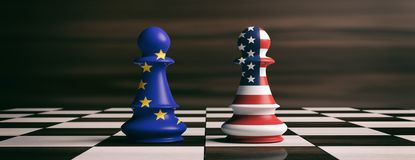 USA and European Union flags on chess pawns on a chessboard. 3d illustration. USA and EU cooperation concept. US America and European Union flags on chess pawns Stock Photos