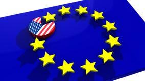 USA EU disc eating TTIP euro star Stock Photo
